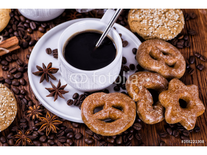 black coffee on a wooden background 64238