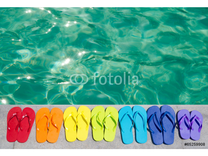 Color flip flops by the pool 64238