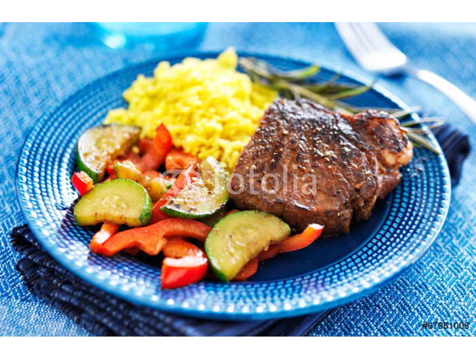 steak with vegetables and rice dinner 64238