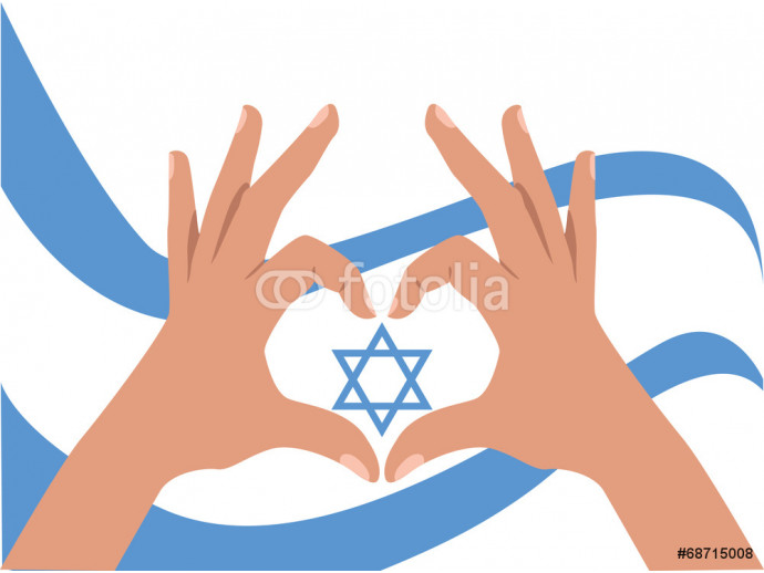 Hands and flag with Magen David, for an Independance Day 64238