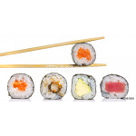 Little sushi maki roll with chopsticks isolated 64238