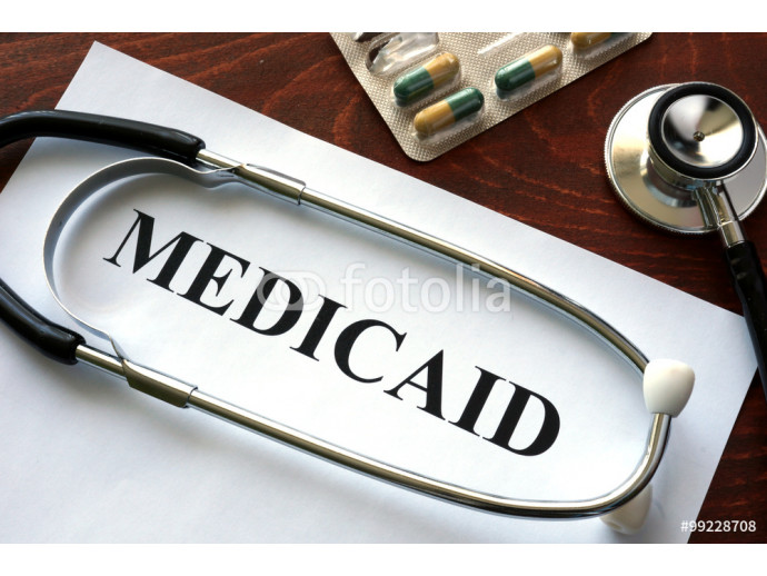Paper with Medicaid and stethoscope. Medical insurance concept. 64238