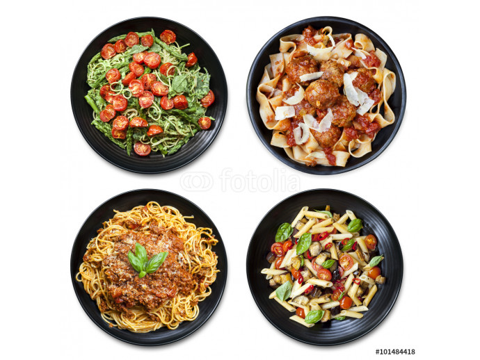 Pasta Collage isolated Overhead View 64238