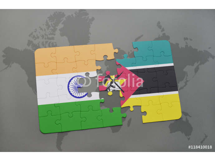 Vliestapete puzzle with the national flag of india and mozambique on a world map background. 64238
