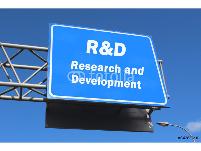R&D Research and development - Highway sign 64238