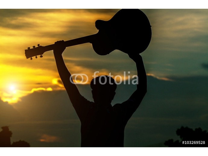 Silhouette of Men have shown that happiness and success. And hol 64238