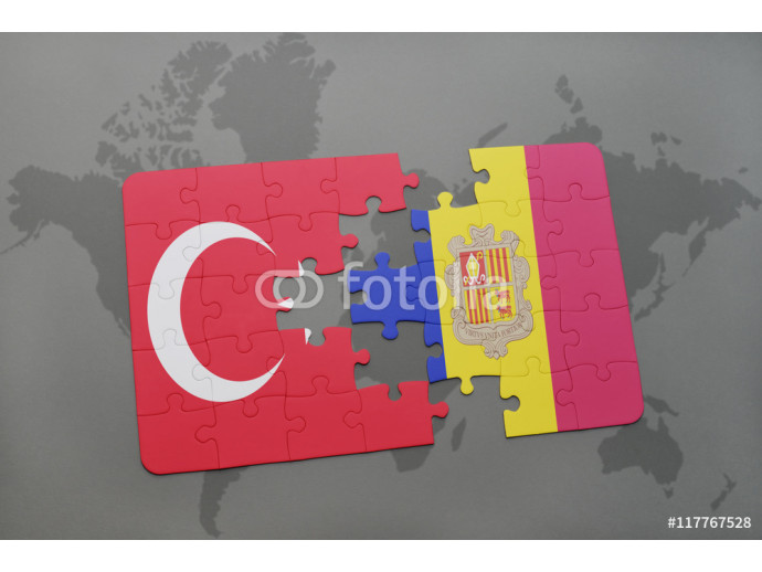 puzzle with the national flag of turkey and andorra on a world map background. 64238