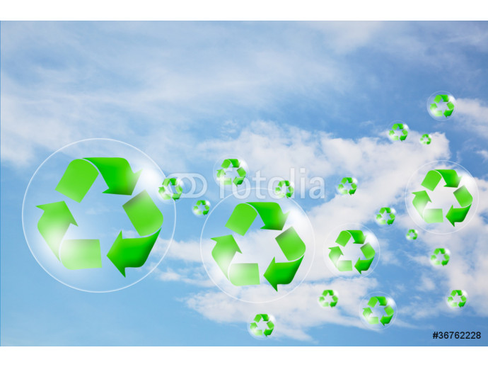 Recycle logo concept and bubble in the sky 64238