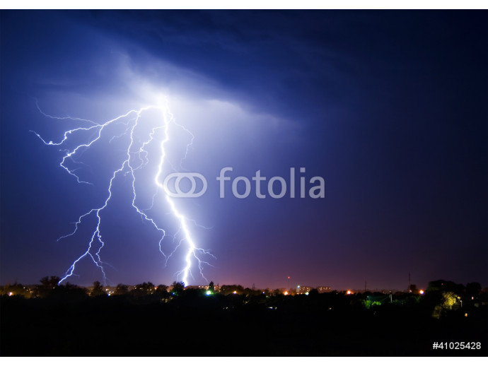 Lightning over small town 64238