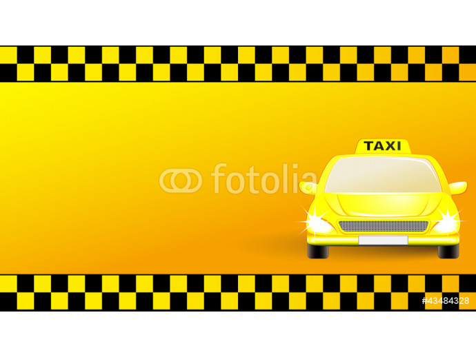 business card with taxi car on yellow background 64238