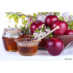 .apples in a bowl with honey and apple flower 64238