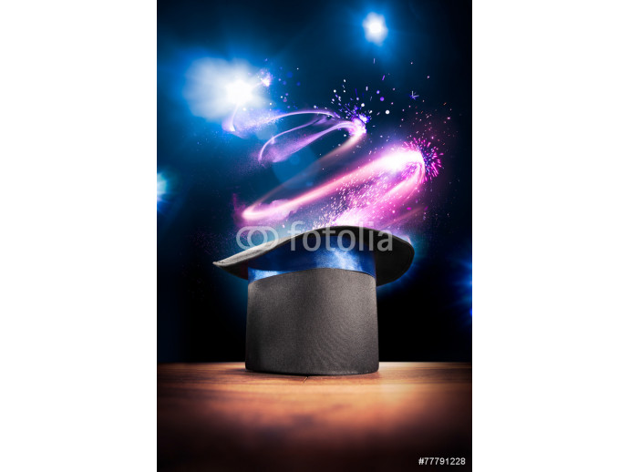 Fototapeta High contrast image of magician hat on a stage 64238