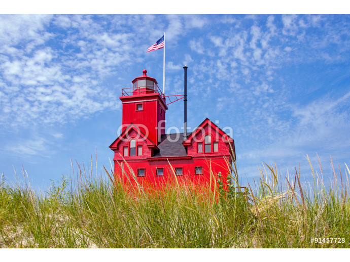 red lighthouse in dune grass in Holland, Michigan 64238
