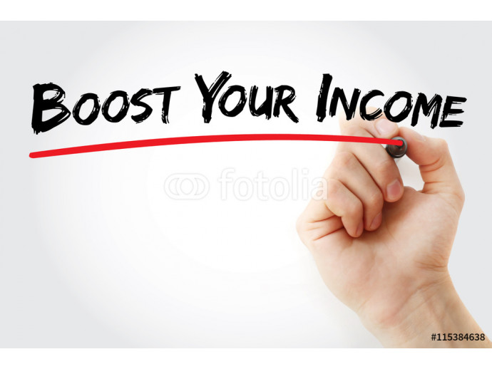 Hand writing Boost Your Income with marker, concept background 64238