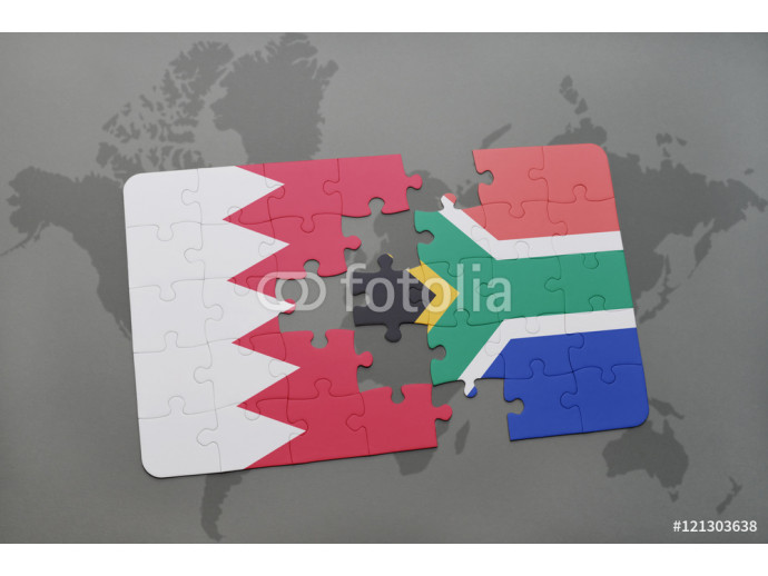 puzzle with the national flag of bahrain and south africa on a world map background. 64238