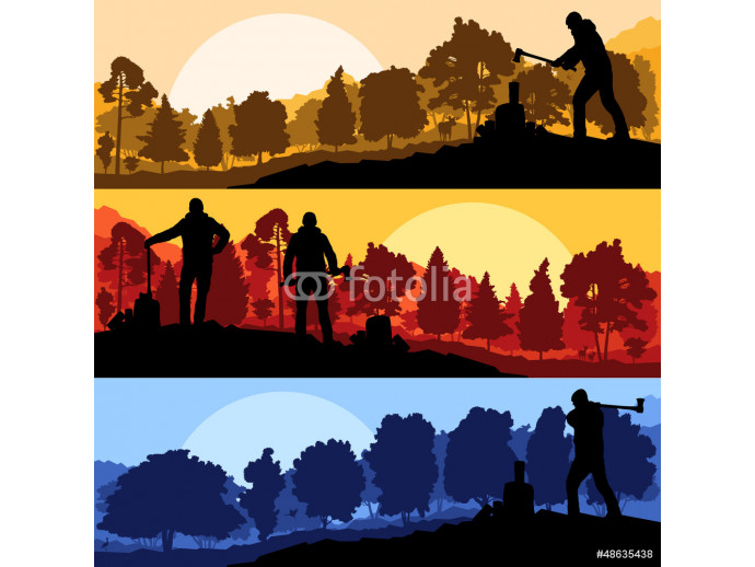 Loggers with axes in wild mountain forest nature landscape 64238