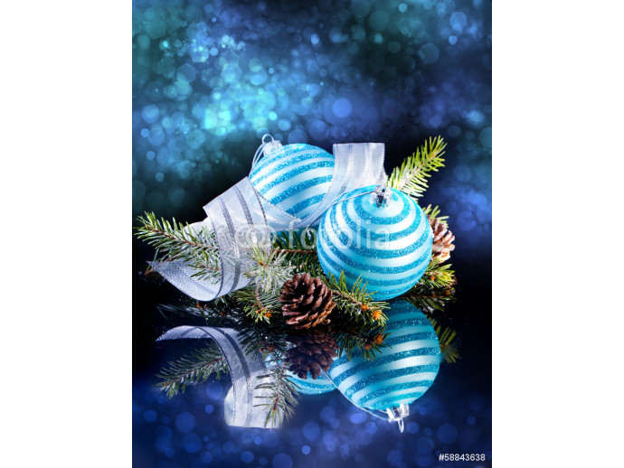 Christmas card with Christmas balls on a dark background 64238