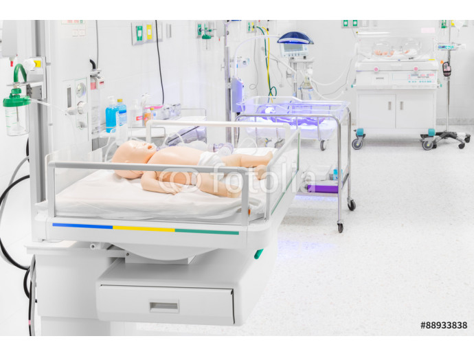 Dummy of newborn baby in childbearing center at modern hospital 64238