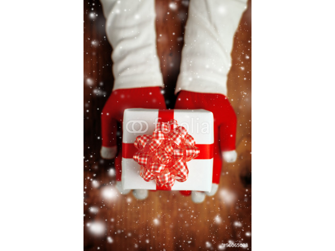 Fototapeta Woman offering Christmas gift in wrapped box 64238