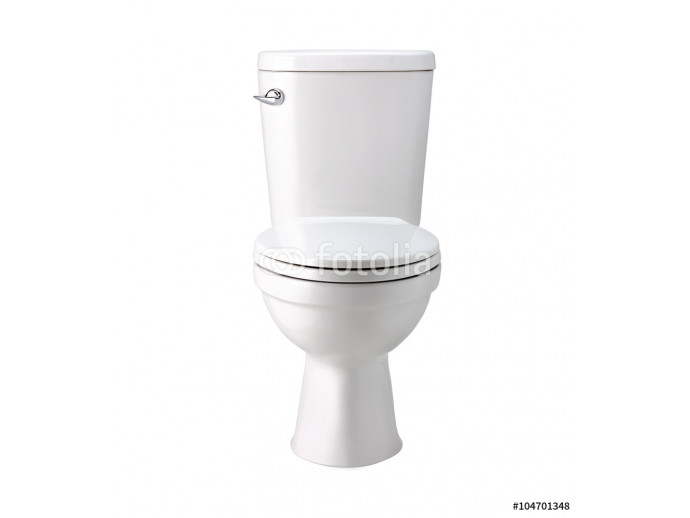 White toilet bowl in bathroom, isolated with clip path 64238