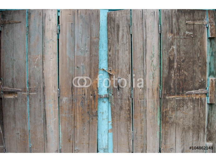 Vliestapete A wooden vintage scaled door at green bricks wall background. 64238