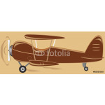 cartoon isolated retro biplane on brown background 64238
