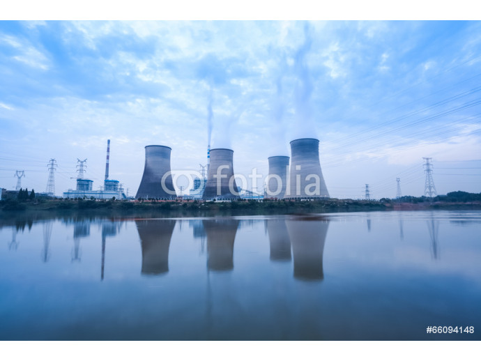 coal-fired power plant in cloudy 64238
