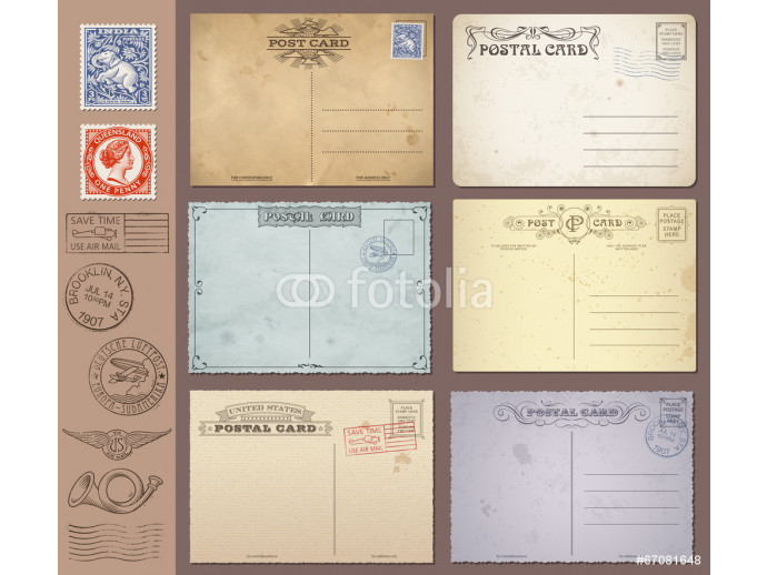 Vector Vintage Postcards and Stamps 64238