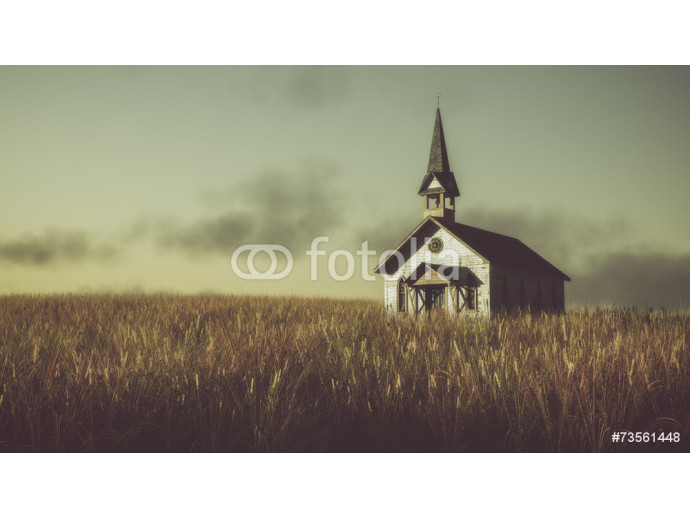 Old abandoned white wooden chapel on prairie at sunset with clou 64238