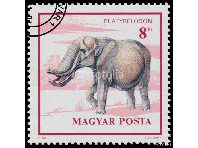 Stamp printed in Hungary shows Prehistoric Animal 64238