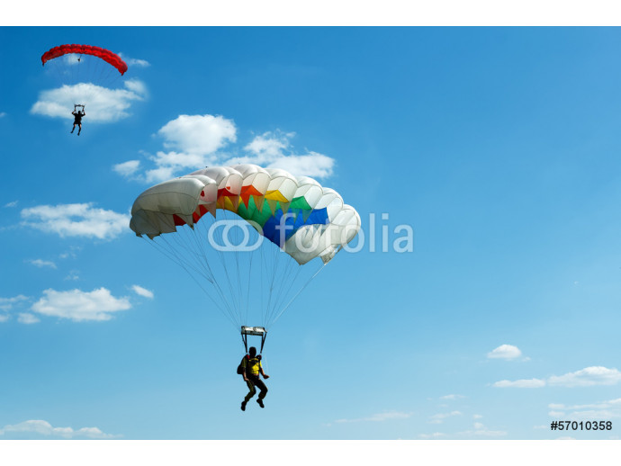 unidentified skydivers on blue sky 64238