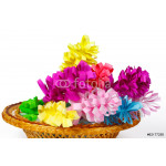 Many colored paper flowers in the basket 64238