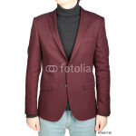 Dark red suit jacket for men, combined with jeans trousers. 64238