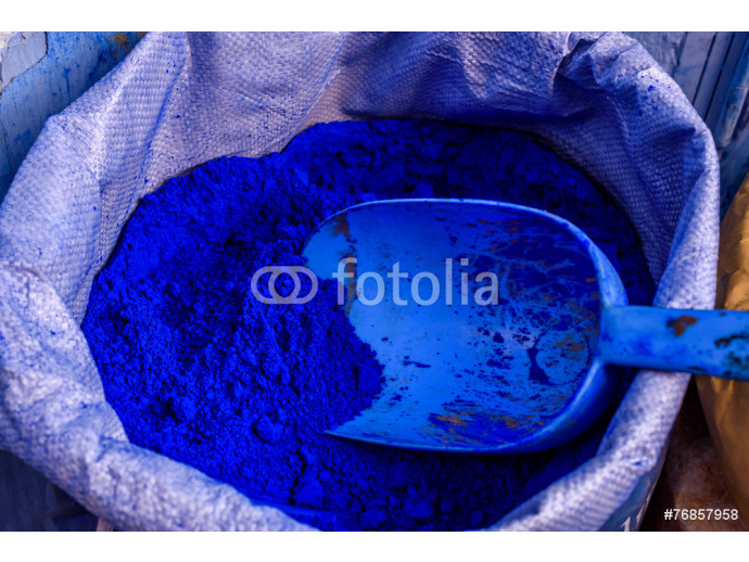 Blue color powder, Chefchaouen, Morocco 64238