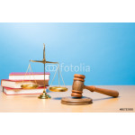 Lawyer. Law scales, judge gavel on table. Symbol of justice. 64238