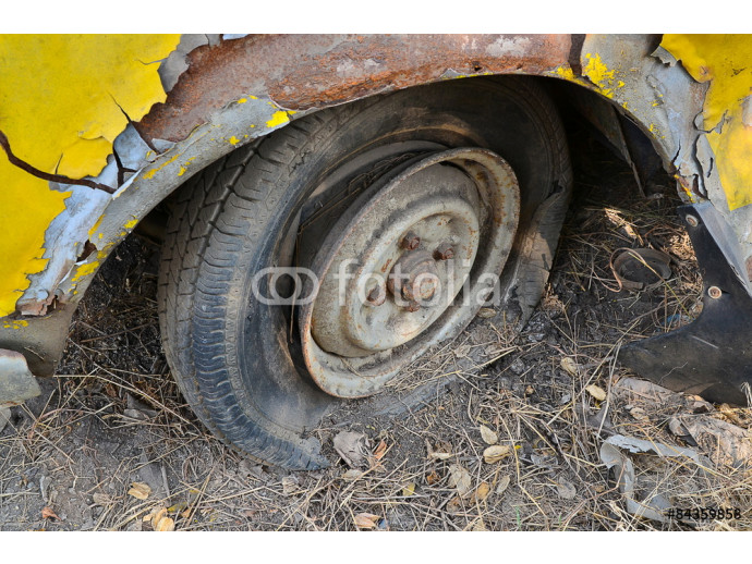 Detail Shot of a Flat Tire on a Car Selection Focus on Tire 64238