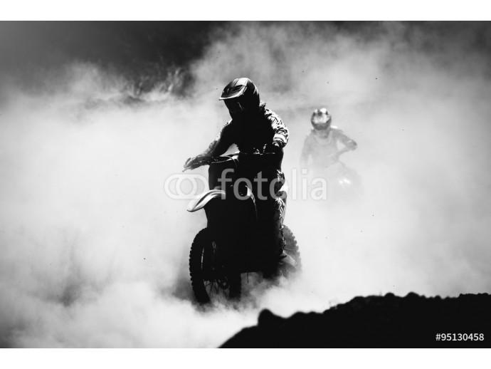 Motocross racer accelerating in dust track, Black and white, hig 64238