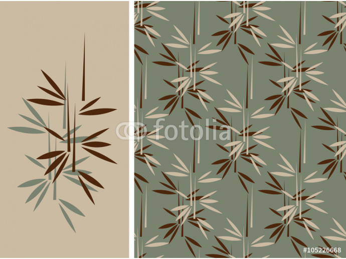 A japanese style bamboo seamless tile and its isolated pattern in a vintage green and brown color palette 64238