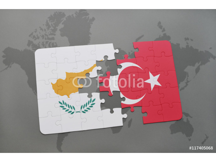 puzzle with the national flag of cyprus and turkey on a world map background. 64238