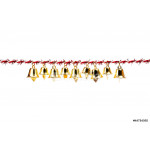 Golden bell holding ribbon rope on white background 64238