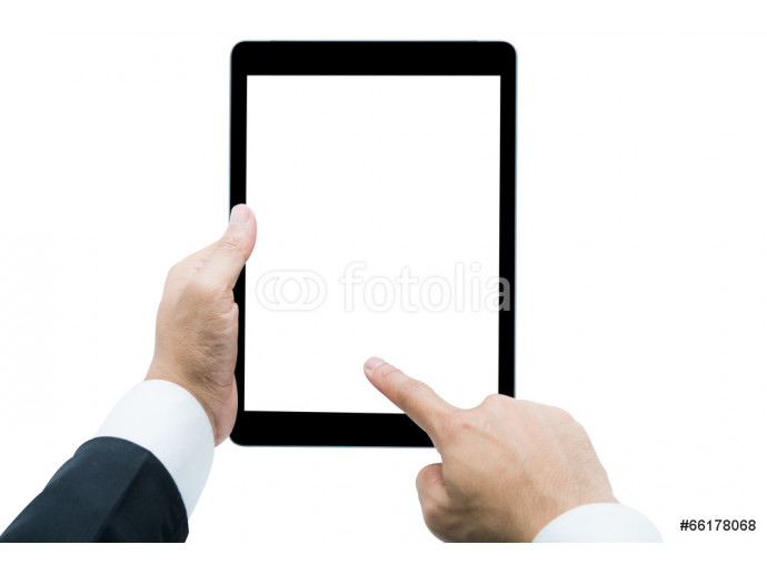 Businessman hands holding tablet Isolated 64238