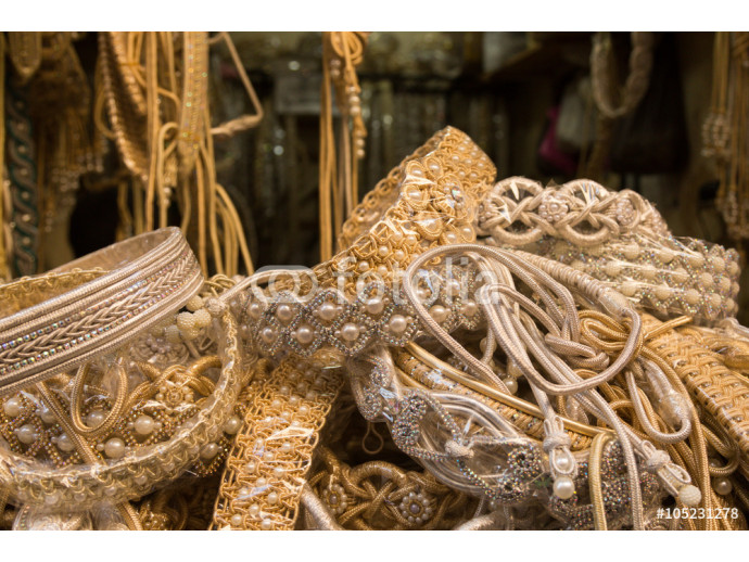 traditional beaded belts in the market of Fes 64238