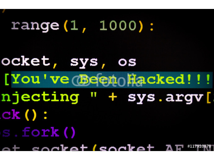 Graphic user interface with You've been hacked message, concept of internet attack 64238