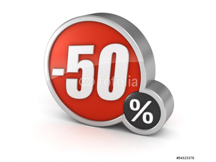 Discount 50% sale 3d icon on white background 64238