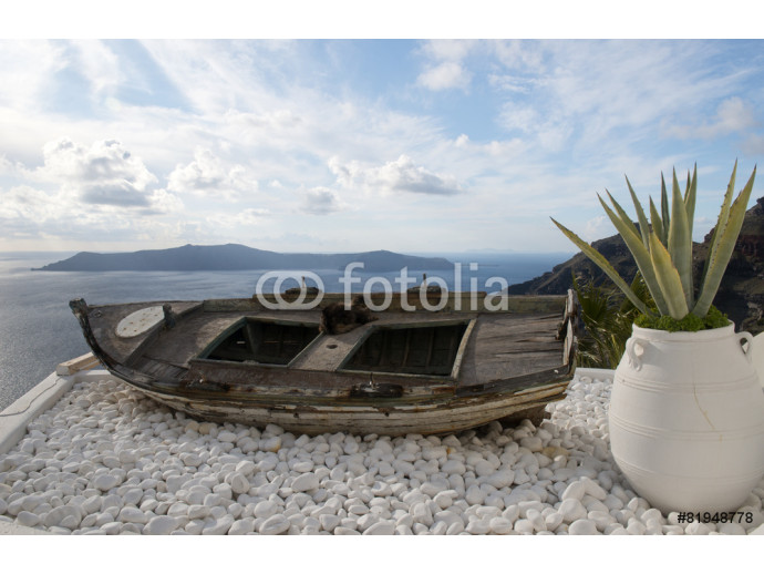 Old boat on a roof, Santorini 64238