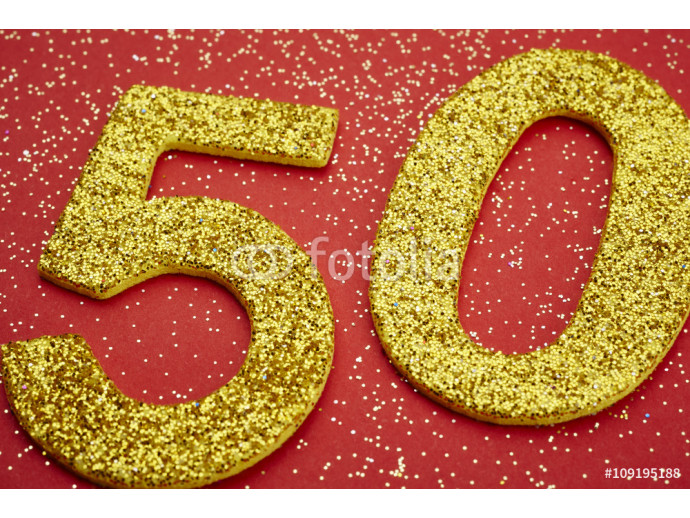 Number fifty golden color over a red background. Anniversary 64238