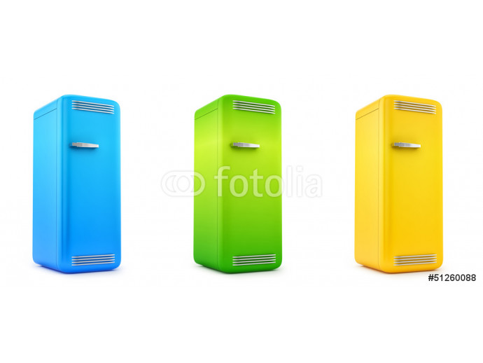 render of retro refrigerators, isolated on white 64238