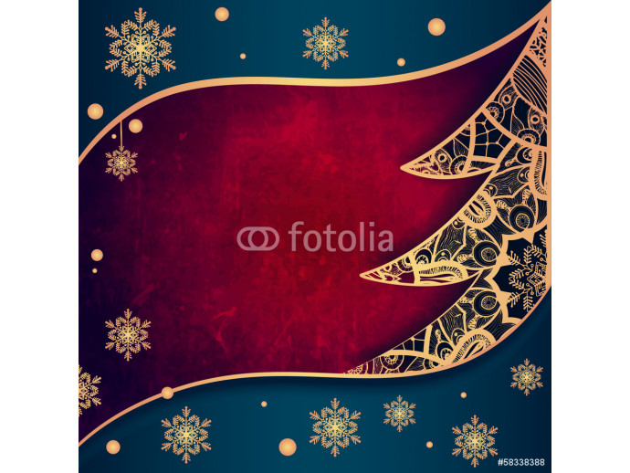Wallpaper Christmas greeting card with decorative tree from lace. 64238