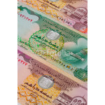 Different Dirham  banknotes from Emirates on the table 64238