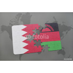 puzzle with the national flag of bahrain and malawi on a world map background. 64238
